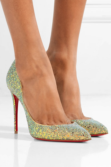 7c98eab6ef76 Christian Louboutin. Pigalle Follies Dragonfly 100 glittered leather pumps