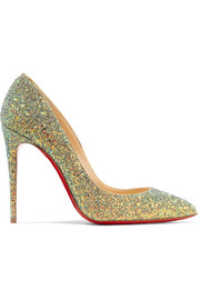 Christian Louboutin Pigalle Follies Dragonfly 100 glittered leather pumps