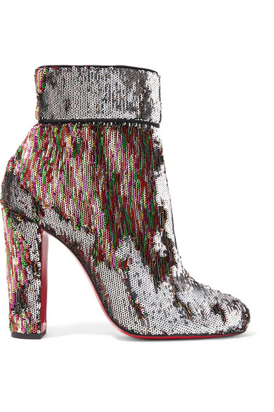 3cf06b28e8d7 Christian Louboutin. Moulamax 100 sequined leather ankle boots