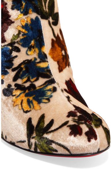 brand new c9aeb 85815 Christian Louboutin | Moulamax 85 floral-print velvet ankle ...