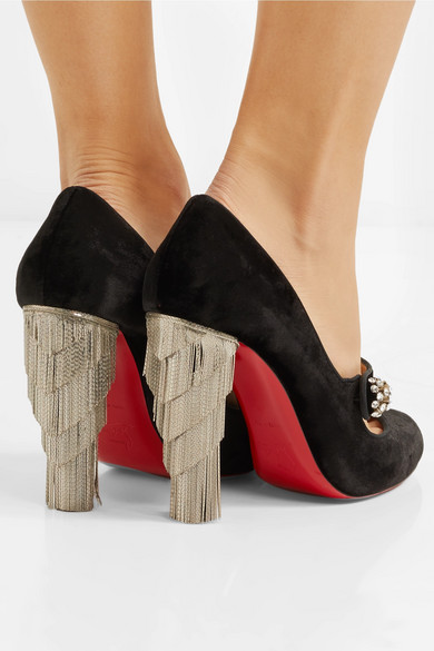 Christian Louboutin Mary-Jane-Pumps | Rex 100 verzierte Mary-Jane-Pumps Louboutin aus Samt 3a7cad
