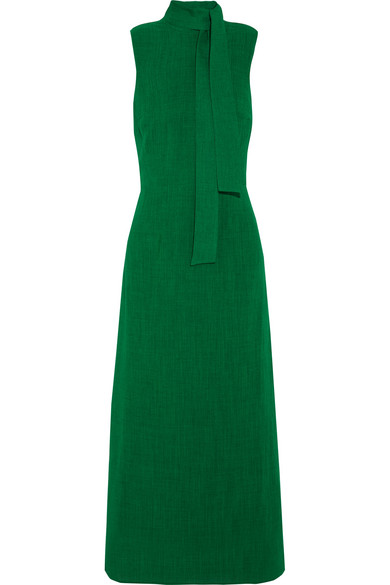 Cefinn - Pussy-bow Gauze Midi Dress - Green