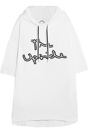 Embroidered cotton-jersey hooded top