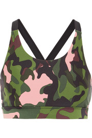 Lottie camouflage-print stretch sports bra