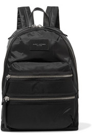 Biker leather-trimmed shell backpack