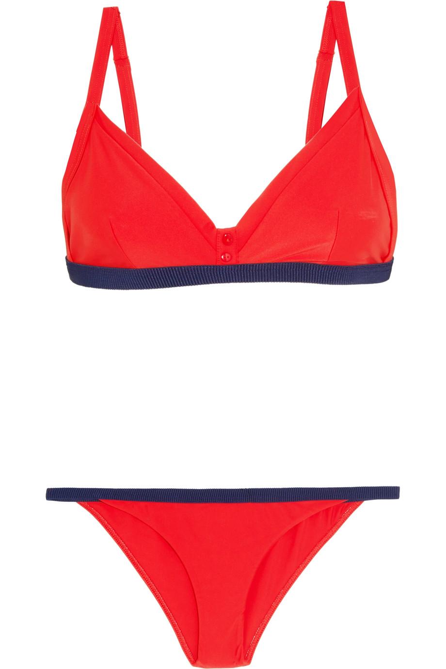 Rye | Zesty grosgrain-trimmed triangle bikini | NET-A-PORTER.COM