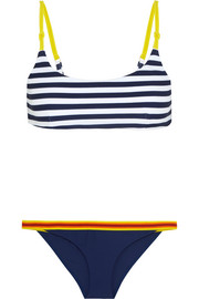 Rye Splish striped canvas and grosgrain-trimmed bikini