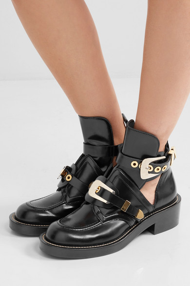 92a3cd0a746 Balenciaga | Cutout glossed-leather ankle boots | NET-A-PORTER.COM