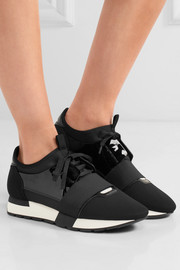 Race Runner patent-leather, mesh and neoprene sneakers