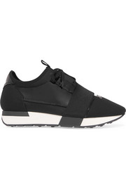 Balenciaga Race Runner patent-leather, mesh and neoprene sneakers