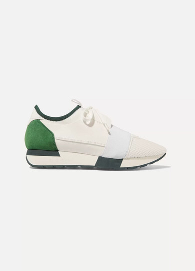RACE RUNNER LEATHER, MESH, NEOPRENE AND SUEDE SNEAKERS