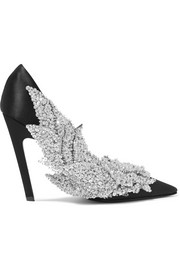Sequin-embellished satin pumps