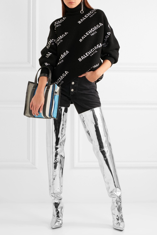 Balenciaga Mirrored-leather thigh boots