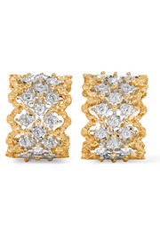 Rombi 18-karat yellow and white gold diamond earrings
