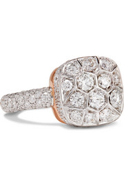 Nudo Solitaire 18-karat white gold, rose gold and diamond ring