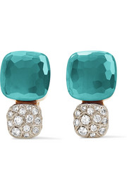 Nudo Solitaire 18-karat rose gold, topaz and diamond earrings