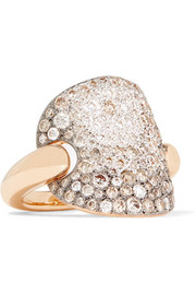 Sabbia 18-karat rose gold, rhodium-plated and diamond ring