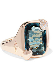 Ritratto 18-karat rose gold, topaz and diamond ring