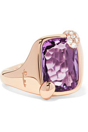 Ritratto 18-karat rose gold, amethyst and diamond ring