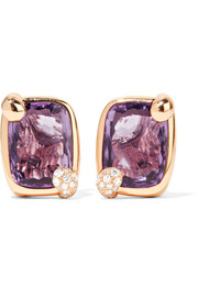 Ritratto 18-karat rose gold, amethyst and diamond clip earrings