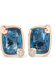 Ritratto 18-karat rose gold, topaz and diamond clip earrings
