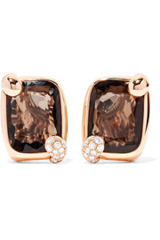 Ritratto 18-karat rose gold, quartz and diamond earrings