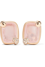 Ritratto 18-karat rose gold, quartz and diamond clip earrings