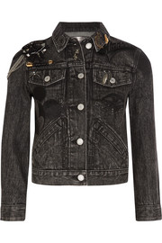 Cropped embellished appliquéd denim jacket