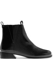 Xandra patent textured-leather ankle boots