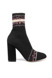 Lara Belle embroidered stretch-knit sock boots
