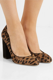 Lydia leopard-print calf hair and suede pumps