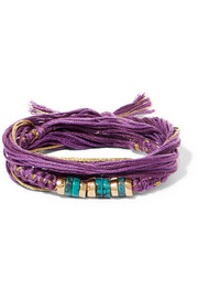 Aurélie Bidermann Takayama cotton, gold-plated and turquoise wrap bracelet