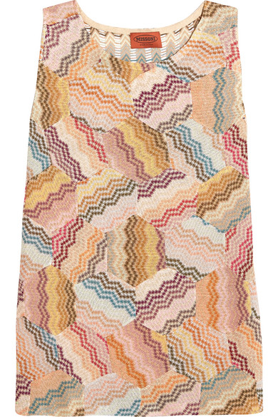 Missoni - Paneled Metallic Crochet-knit Tank - Pink
