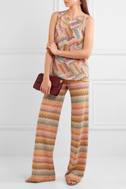 Missoni Paneled metallic crochet-knit tank