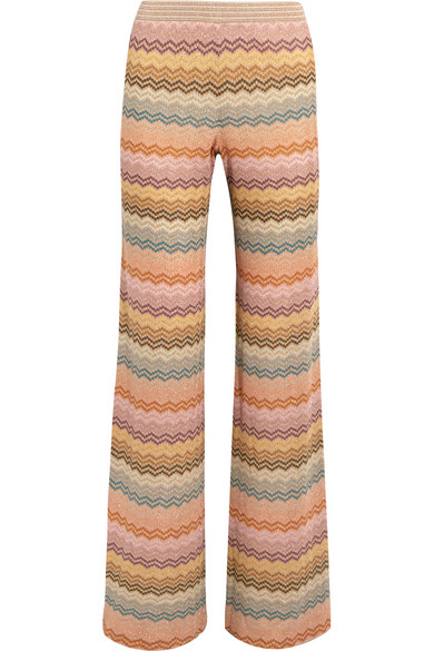 Missoni - Metallic Crochet-knit Wide-leg Pants - Peach