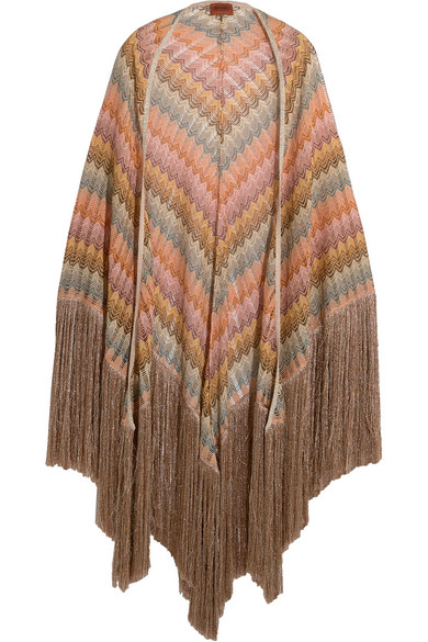 Missoni - Fringed Metallic Crochet-knit Wrap - Pink