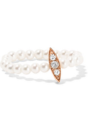 Anissa Kermiche 14-karat rose gold, pearl and diamond ring