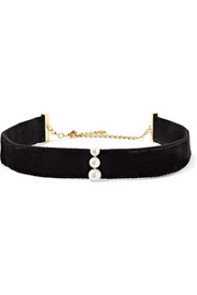 14-karat gold, pearl, diamond and velvet choker