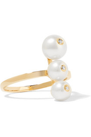 Anissa Kermiche 14-karat gold, pearl and diamond ring