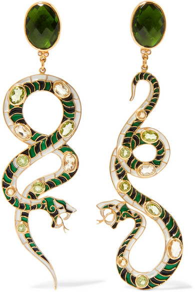 Percossi Papi - Gold-plated Multi-stone Earrings - Green