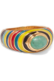 Percossi Papi Gold, enamel and emerald ring
