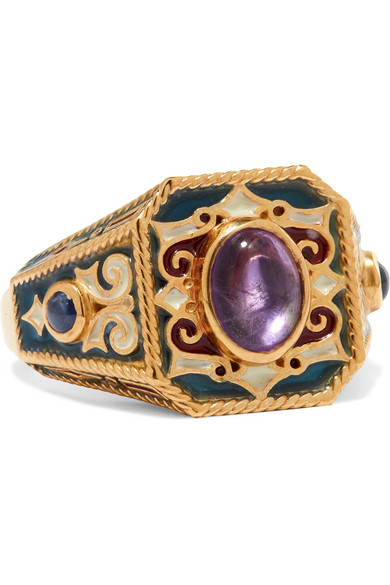 Percossi Papi - Gold, Enamel, Amethyst And Sapphire Ring - 6