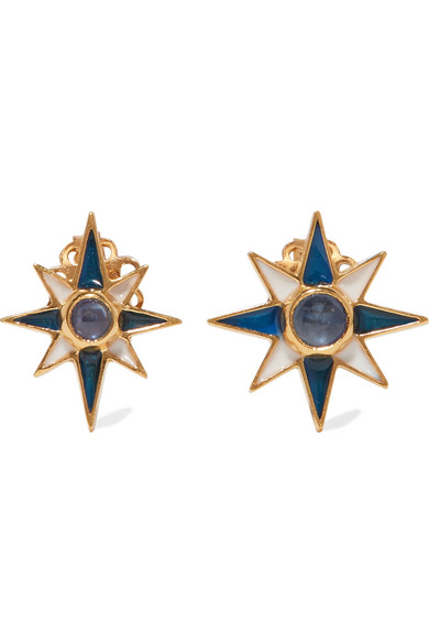 Percossi Papi - Gold-plated, Sapphire And Enamel Earrings - one size