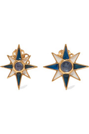 Percossi Papi Gold-plated, sapphire and enamel earrings