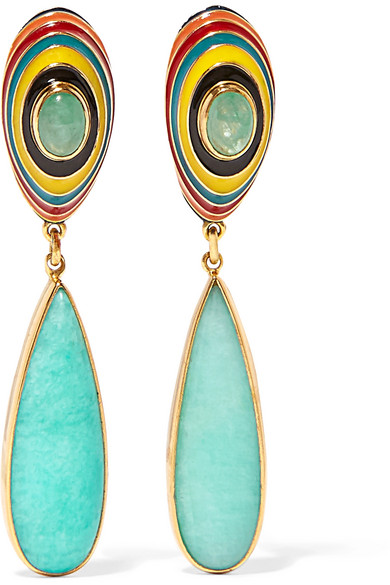 Percossi Papi - Gold-plated, Enamel, Emerald And Amazonite Earrings - one size