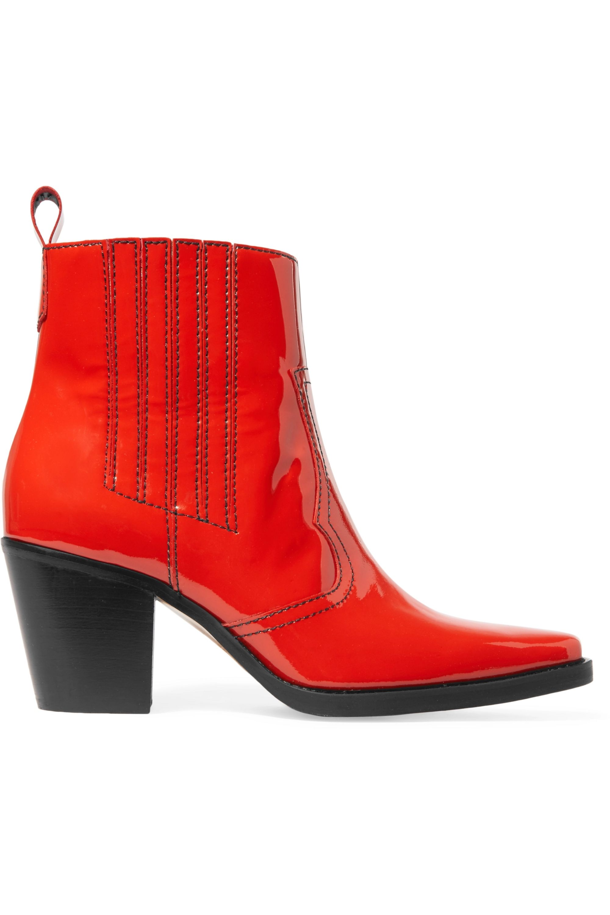 GANNI Callie patent-leather ankle boots