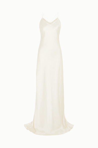 HALFPENNY LONDON Luella Organza-Trimmed Satin Gown in White