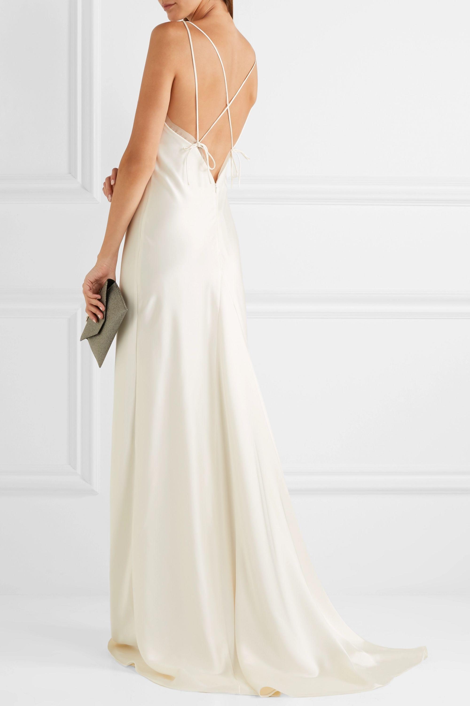 Halfpenny London Luella organza-trimmed satin gown