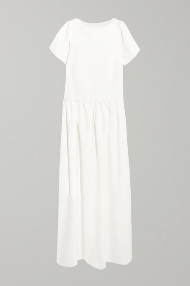 HALFPENNY LONDON Stella Drop-Waist Crepe De Chine Gown in White