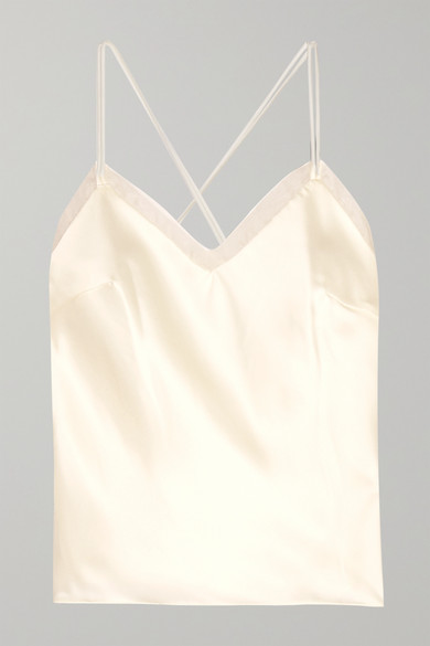 HALFPENNY LONDON Lenny Organza-Trimmed Satin Camisole in White
